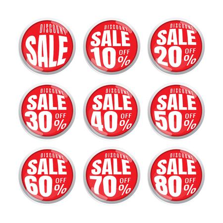 Verkauf bis zu 10,20,30,40,50,60,70,80, Prozent auf Kreis rotes Etikett-Set (Vektor). Banner. Geschäft. Marketing. auf weißem Hintergrund Vektorgrafik