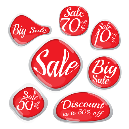 sale label red set (vector). banner. Business. marketing. on white background