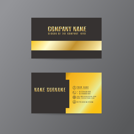 vector Creative leaf business card gold and black design of text on Gray background