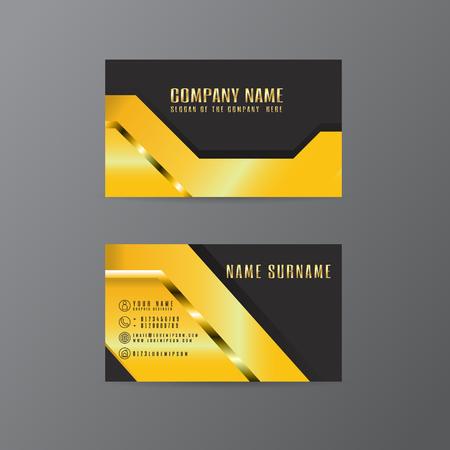 Vector Creative Leaf Business Card diseño dorado y negro de texto sobre fondo gris Ilustración de vector