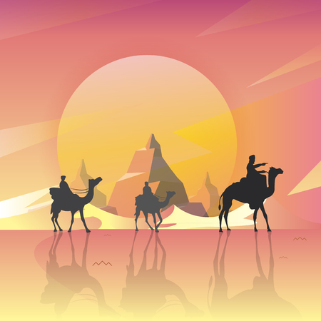 Vector illustration - Camels in the desert night, moon, with the Mountain Great Scenery. art.  nature. background Ilustrace