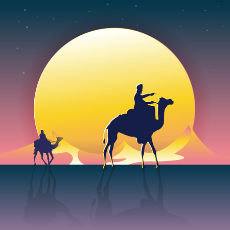 Vector illustration - Camels in the desert night, moon, with the Mountain Great Scenery. art.  nature. background Illustration