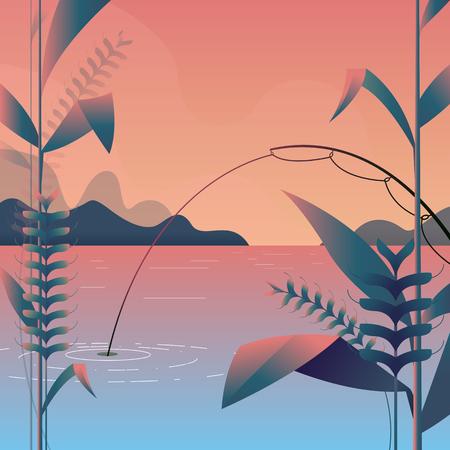 Vector illustration - modern landscape with fishing, light Purple inside and long shadow. Mountain landscape nature. tree. art. Corn farm. background Illustration