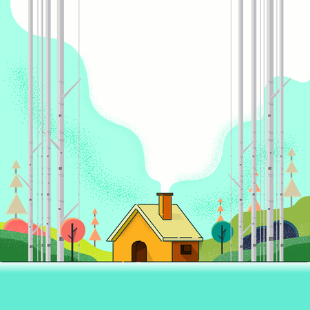 Country house in the forest. Cartoon. vector illustration. art Illustration