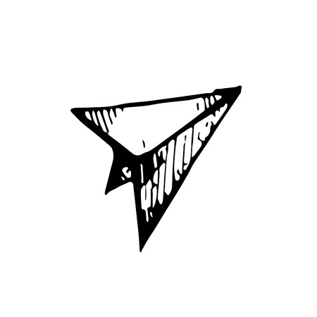 Icon black Hand drawn Simple outline paper airplane Symbol. vector Illustrator. on white background