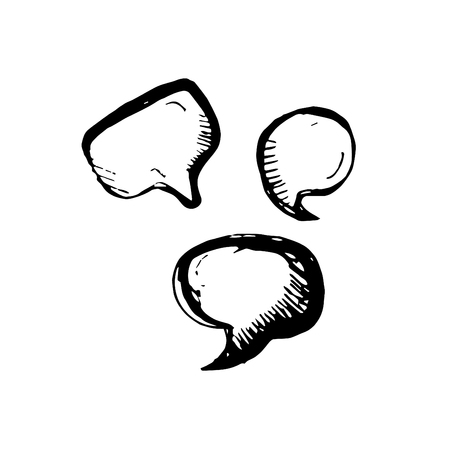 Icon black Hand drawn Simple outline bubble speech Symbol. vector Illustrator. on white background Çizim