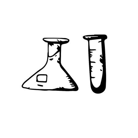 Icon black Hand drawn Simple outline Test tube Symbol. vector Illustrator. on white background