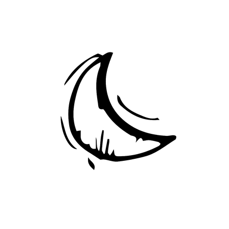 Icon black Hand drawn Simple outline Moon Symbol. vector Illustrator. on white background