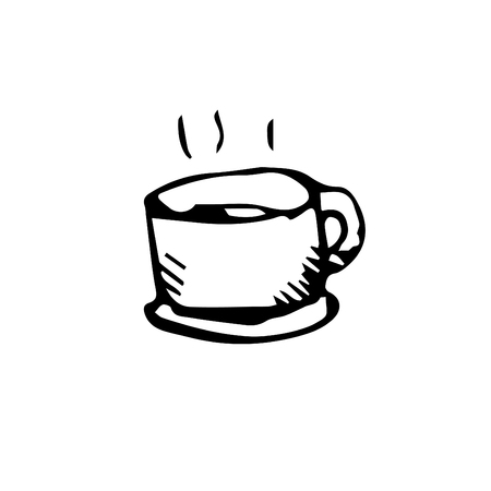 Icon black Hand drawn Simple outline Coffee cup Symbol. vector Illustrator. on white background Illustration