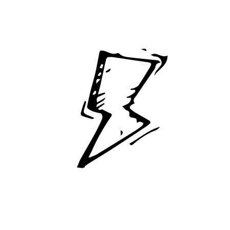 Icon black Hand drawn Simple outline Thunder Symbol. vector Illustrator. on white background