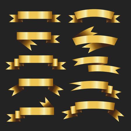 Zestaw ilustracji wektorowych retro złote wstążki. piękny świąteczny. taśma transparent flaga łuk. na czarnym tle