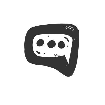 Vector Hand Drawn Speech Bubbles. on white background. icon. symbol Stock Illustratie
