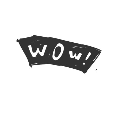 Vector Wow hand drawn speech bubble black on white background. icon. symbol