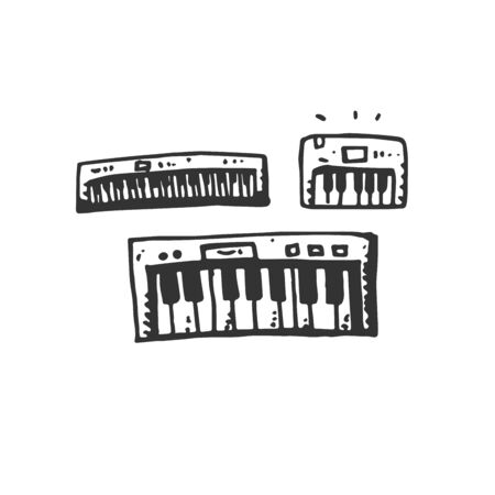 Hand Drawn Vector synthesizer piano Keyboard icons isolated on white background. symbols