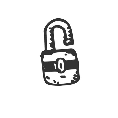 Hand Drawn Vector lock key icons isolated on white background. symbols