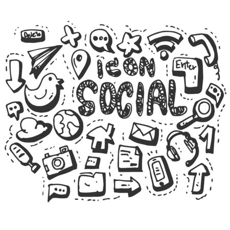 Hand Drawn Vector social media icons set isolated on white background. symbols Иллюстрация