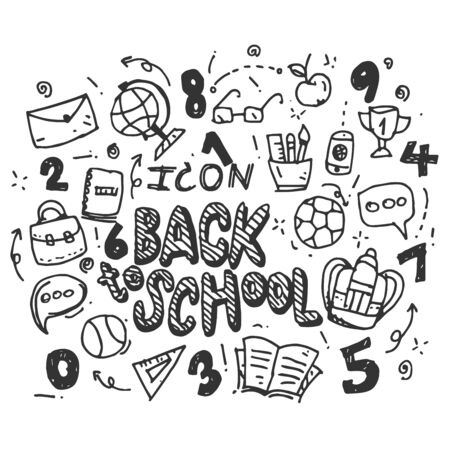 Hand Drawn Vector Back to school icons set isolated on white background. symbols