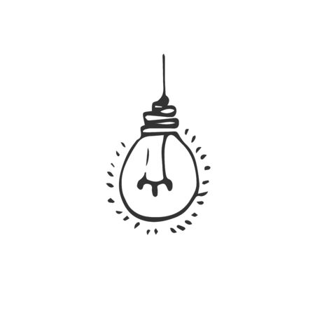 hand drawn Idea Light bulb icon black. on white background. vector Illustrator. symbol. web