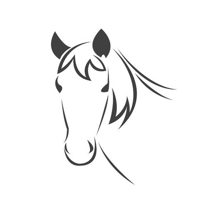 Vector head of horse black. Mammals. logo. icon. symbol. design. on white background