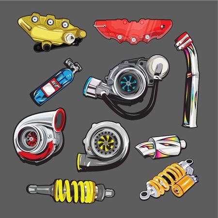 Vector Car parts on gray background Vektoros illusztráció
