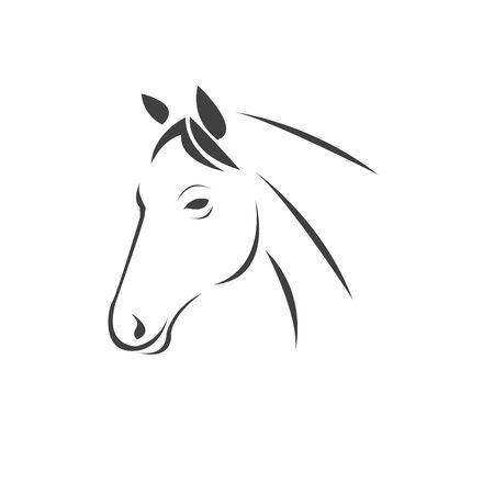 Vector head of horse black. Mammals. icon. symbol. design. on white background