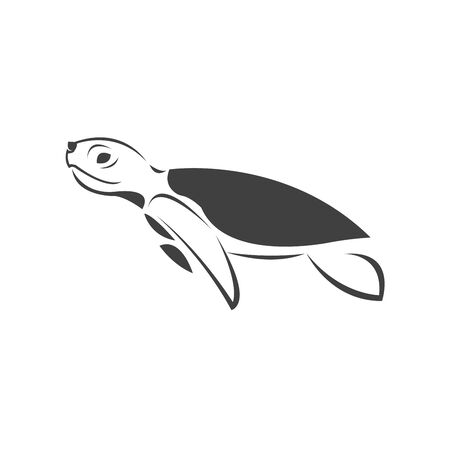 Vector of turtle Black design on a white background. Reptile. Animals. Sea creatures. illustration.
