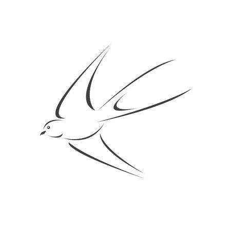 Vector swallow flying design on white background. Bird. icon. Wild Animals. symbol. Illustrator