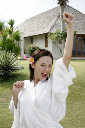 oriental bathrobe: Portrait of young woman