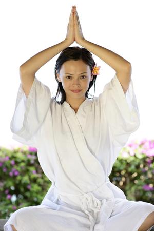 oriental bathrobe: Portrait of young woman sitting