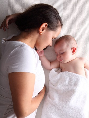 caucasian appearance: Mother & Baby