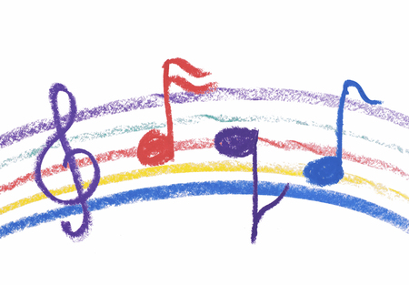 Colorful music notation drawing on white,isolated musical notation