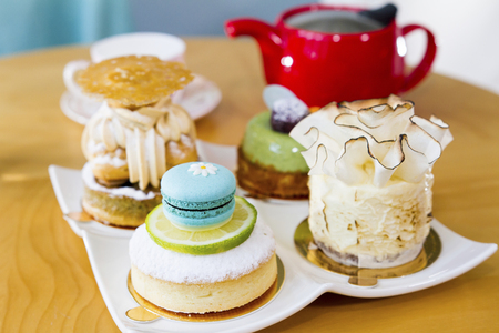 Lemon cake and Macarons