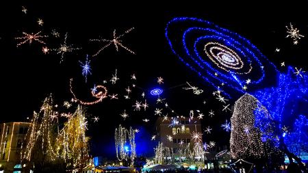 Ljubljana old city center Christmas holidays light decoration in Presernov square Stock fotó