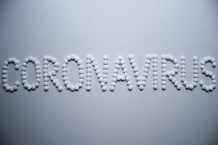 Text phrase Coronavirus sign concept made from white pills on a white background