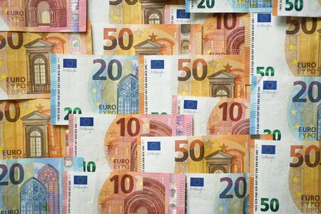 European union money currency Euro different paper notes