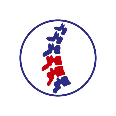 Human spine. Isolated. Spine medical center, clinic  element. Flat modern silhouette illustration.