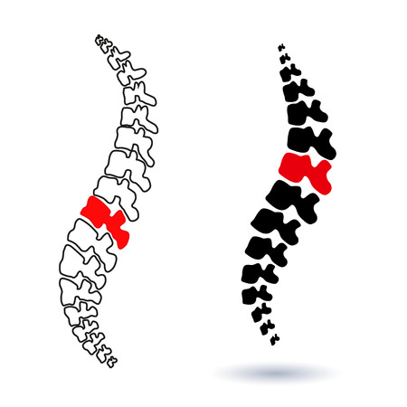 human spine isolated silhouette illustration. Spine pain medical center, clinic, institute, rehabilitation, diagnostic, surgery  element. Spinal icon symbol design. Concept of scoliosis