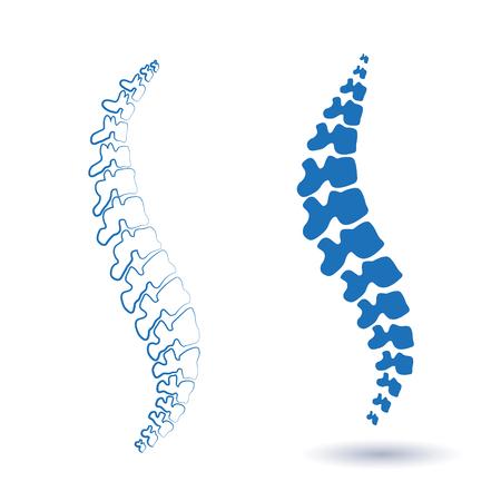 Ilustración de espina aislada humana silueta. Centro médico de columna vertebral, clínica, instituto, rehabilitación, diagnóstico, elemento de cirugía. Diseño de símbolo de icono espinal. Concepto de escoliosis