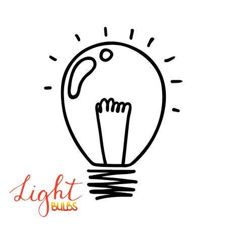 Light bulb icon. Concept of big ideas inspiration, innovation, invention, effective thinking. Isolated.  illustration. Idea symbol.  sketch. Hand-drawn doodle sign.