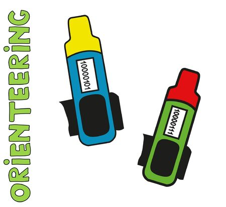 Sports orienteering equipment - card.  Flat, isolated, detailed vector icons.
