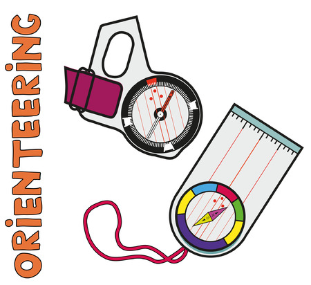 Thumb and plate compasses of sports orienteering. Flat, isolated, detailed vector icons.
