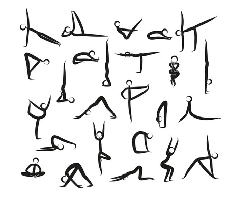 Set Of Yoga Positions Black Vector Silhouettes Illustration. Silhouette yoga poses (asanas) isolated on white background Vettoriali
