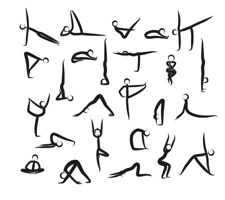 Satz Yoga-Positions-Schwarz-Vektor silhouettiert Illustration. Schattenbildyogahaltungen (Asanas) lokalisiert auf weißem Hintergrund