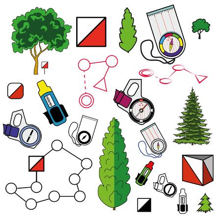 要素のアイコンを設定するオリエンテーリングのスポーツ: コントロール ポイント、カード、植物をパンチ コンパス。フラット。現代の明確なベク