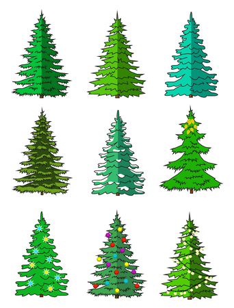 Fir-tree set different colors Flat Isolated icons.