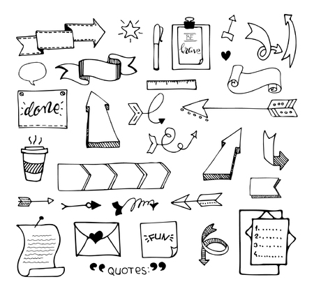 Vector hand drawn set on white background of elements: arrows, banners, words, list, brushes, pens, figures etc with black outlines. Çizim