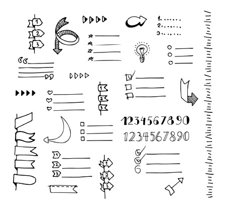 Vector hand drawn set of lists, banners, bullets, arrows, check marks and check boxes drawn in a doodled style on white background