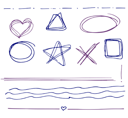 Sketch  set of  colorful vector hand drawn arrows, circles, hearts and abstract doodle, text correction and highlighting elements on white background.  Doodles for design. writing design vector set