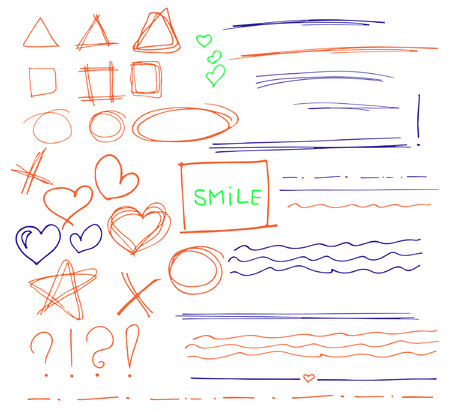 Ensemble de croquis de vecteur coloré main dessinée flèches, cercles, coeurs et abstrait doodle, correction de texte et mettant en évidence des éléments sur fond blanc. Doodles pour le design. écrire design vector set.