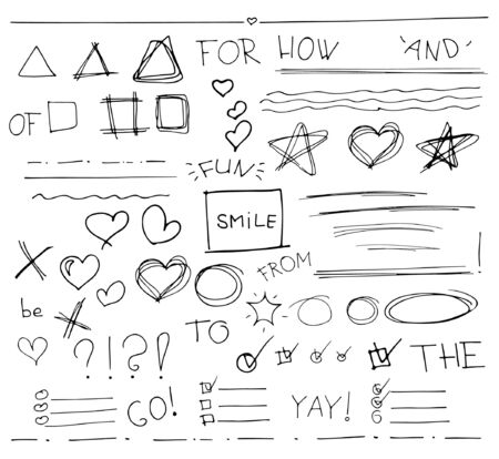 Sketch  set of  vector hand drawn arrows, circles, hearts and abstract doodle, text correction and highlighting elements on white background.  Doodles for design. writing design vector set. Çizim